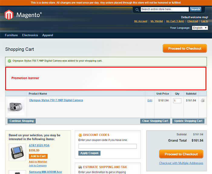 Banner on Magento's Shopping Cart Page